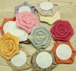 Wholesale Burlap Baby - baby headband 3 '' burlap rose flowers , burlap flat flowers headbands flowers ePacket Free shipping 80 pcs lot ,