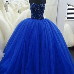Wholesale Crystals Colored Beads - Vestido de noiva Corset Royal Blue Ball Gown Colorful Wedding Dresses 2017 Sweetheart Beads Robe De Mariage Colored Cinderella Bridal Gowns