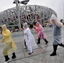 Wholesale Disposable Rain Ponchos - Free shipping 100pcs lot Disposable PE Raincoats Poncho Rainwear Travel Rain Coat Rain Wear gifts mixed colors