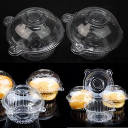 Wholesale Single Plastic Cupcake Holders - 50pcs Lot Disposable Transparent Clear Food Grade Plastic Single Cupcake Muffin Holders Cake Cases Boxes Pods Cups Container