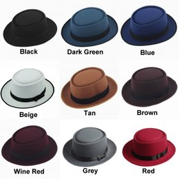 Wholesale Blue Brown Ribbon - Unisex Classic Felt Pork Pie Porkpie Hat Cap Upturn Short Brim Black Ribbon Band