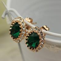 Wholesale Real Emerald Earrings - Luxury Emerald Green Crystal Earrings 18K Real Gold Plated Fashion Jewelry Made with Austrian Crystal Wholesale Stud Earrings,can mix color