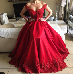 Wholesale Red Wine Pearl - 2018 Wine Red Prom Dress Long V Neck Lace Applique Satin A Line South Africa Party Dresses Evening Red Carpet Celebrity Pageant Gowns