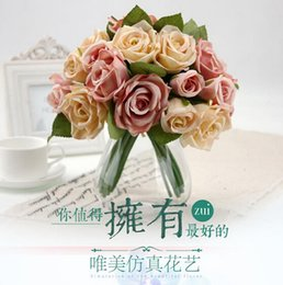 Wholesale Single Rose Decoration - Hand made Bride Bouquets Artificial Flowers Real Touch Rose For Wedding Decorations Free Shipping From Leung