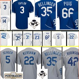 Wholesale Los Angeles Jerseys - Los Angeles #35 Cody Bellinger Jersey Men's 66 Yasiel Puig 31 Joc Pederson stitched Baseball Jerseys 2017 Postseason and SW Patch