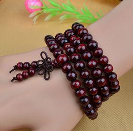 Wholesale Natural Sandalwood Bracelet - 108*8mm Genuine Natural Sandalwood Beads Buddha Malas Bracelet Healthy Jewelry Man Wrist Mala Neklace Bowknot Bracelets 5 Colors
