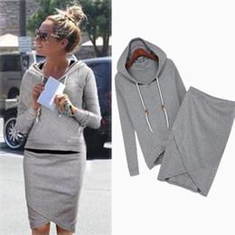 Wholesale Pencil Skirt Suits - Wholesale- Vogue Fashion Women Feminine Long Sleeve Women Hoodie Sweatshirt Pencil Skirt Sport Sweatshirt Two Piece Suit Outfit 1554