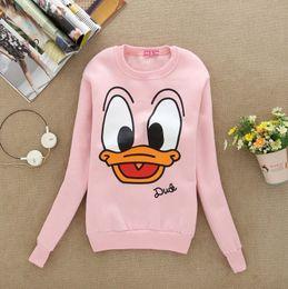 Wholesale Cute Hoody Women - Hoodies New Cute Duck Printed Women Hoody Hoodie Long Sleeve Winter Fleece Warm Indise Cotton Sweatshirts Tops Pullover Tracksuit