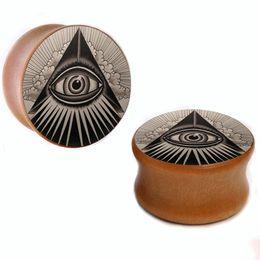 Wholesale ear eye - Wholesale 8mm-25mm Black triangle eye wood plug gauges flesh tunnel saddle ear plugs ear expander WSP019
