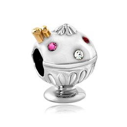 Wholesale Enamel Ice Cream Charms - Fashion women jewelry DIY European white enamel crystal ice cream metal bead loose charms fits Pandora charm bracelet