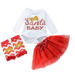Wholesale Cotton Baby Socks White - Christmas Three Pieces Sets 2018 Babies Letter Rompers with Lace tutu Skirts with Socks Babies Autumn Xmas Outfits