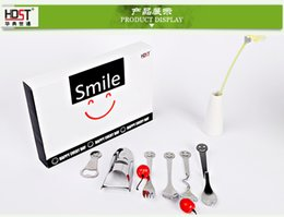 Wholesale Happy Faces - 6 pieces various style tableware suit Happy smiling face family Stainless steel tableware,Creative gift, free shipping