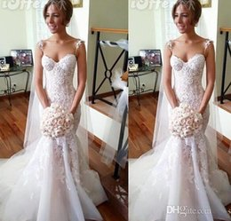 Wholesale Ivory Organza Overlay - 2015 Arabic Midwest Abaya A-line Wedding Dresses With Spaghetti Straps Lace Overlay Tulle Bodice Lace-up Tulle Court Train Bridal Gowns