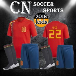 Wholesale Boys Shirts Sale - Spain kids Jersey 2018 RAMOS ISCO PIQUE SERGIO A. INIESTA M. ASENSIO THIAGO MORATA home soccer shirt Football uniforms sales Spain kits