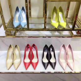 Sapatos de couro de couro amarelo on-line-Mulheres De Couro De Patente-Sapatos De Salto Alto Nude Preto Rosa Limão Bombas Amarelas Apontou Toe Vestido De Casamento Único Sapatos Com Caixa Original
