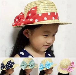 Wholesale Kid Leather Cap - Princess Style Girls Summer Sun Hat Baby Girl Hat with White Dots Bowknot Kids Party Cap Top Hat
