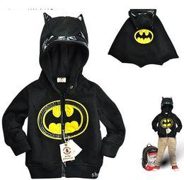 Wholesale Batman Sweatshirt Boys - children's Boy's Batman zipper hooded Outwear Coat boy Hoodies Sweatshirts kids Baby long sleeve hoody Jackets with Cape clothing