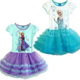 Wholesale Girls Party Dresses Years - Baby Girls Frozen Dress Elsa Ana Frozen Princess Cartoon Print Girls Casual Dresses For 2-6 Years Party Baby & Kids