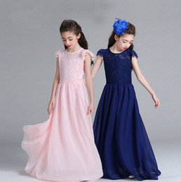 Wholesale Wholesale Wedding Prom Dresses - Wholesale Big girls ball gown children prom long dresses kids lace skirts 8 colors girl's boutiques dress Wedding dress hot sale