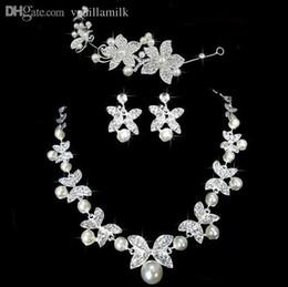 Wholesale Bridal Jewelry Sets Korean - Wholesale-Fashion new Korean pearl bridal wedding tiara and jewellery sets for women flower girl
