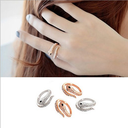 Wholesale Crystal Snake Rings - Fashion women gold silver plated punk ring set jewelry love snake rhinestone crystal snakelike ring for women lover