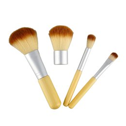 Wholesale Wooden Bag Handles Wholesale - Bamboo Handle Makeup Brushes Wooden Makeup Brushes sets Cosmetics Tools Set Powder Blush Eyeshadow Brushes with Gunny Bag 4pcs set