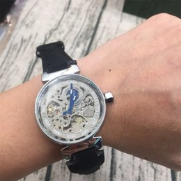 Wholesale Mechanical Skeleton Clock - AAA Top Luxury brand Hollow Skeleton Automatic Mechanical Watches For women Watch Stainless Steel Strap Wristwatches Clock relogios feminino