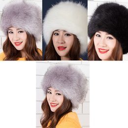Wholesale Russian Style Casual Fashion - Wholesale-Fashion Faux Fur Winter Warm Lady Women Russian Cossack Style Casual Fitted Cap Soft Ski Hat Brimless Skullies Beanies Berets