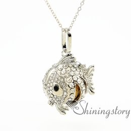 Wholesale Fish Gift Metal - fish ball aromatherapy necklace wholesale diffuser necklace diffuser jewelry diffuser necklace for essential oils lava volcanic stone metal