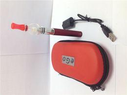 Wholesale Ego Tank Double Kits - Hot Selling Ego Double Starter Kit Glass Globe Tank For Wax Vaporizer Atomizer Electronic Cigarette EGO-T Zipper Case Battery E-cigarette