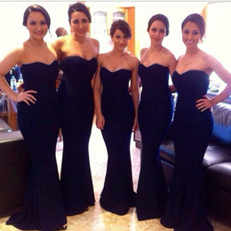 Wholesale Strapless Champagne Short Dress Sale - 2016 Most Popular Sweetheart Neckline Mermaid Black Satin Bridesmaid Dresses Hot Sale Sexy Party Prom Dress Exquisite Evening Gowns