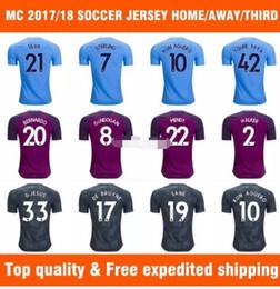 Wholesale Uniform City - Top quality Kun Aguero 2017 18 Home Soccer Jersey Yaya Toure man city Away Soccer shirt De Bruyne Sterling Walker 3rd Football uniforms
