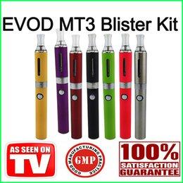 Wholesale Electronic Cigarettes Rechargable - E cigarette EGO EVOD MT3 Blister Kit Electronic Cigarettes evod battery mt3 atomizer starter kit 650mah 900mah 1100mah Rechargable battery