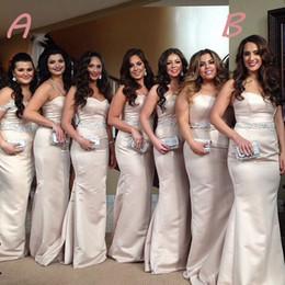 Wholesale Bridesmaid Dress Sweetheart Neckline Crystals - Luxury Beading Crystals Belt Satin Long Bridesmaid Dress Sweetheart Neckline Mermaid Bridesmaid Dresses For Wedding 2016 New Style