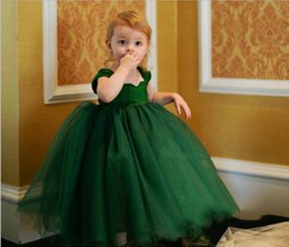Wholesale Royal Purple Colors - 2017 Cute Pretty 3 Colors Green purple White Flower Girls Dresses Wedding Princess Girl Pageant Gowns Full Length Tulle Kids Dresses