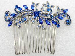 Wholesale Wedding Hair Jewelry Blue - Wholesale-Bright Blue Rhinestone Bride Bridesmaid Wedding accessories big Hair Comb Prom jewelry gift L057 C1