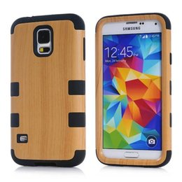 Wholesale Defender Case 4g - Wood Wooden Hybrid Hard Defender Case For Iphone 4 4S 4G 5 5S 6 6S Plus Samsung Galaxy S5 I9600 Soft silicone gel Rubber Armor Skin Cover