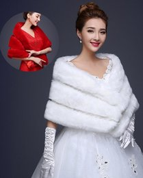 Wholesale Silk Wedding Dress Shawls - New arrive hot sell Bud silk Joining together Faux fur shawls keep warm Bridal Wraps Jackets fashion wedding dress shawl yzs168
