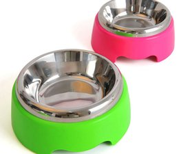 Wholesale Plastic Bowl Slip - Good Quality Stainless Steel Pet Bowl With Candy Plastic Cheap Anti-slip Water&FoodFeeder 2 Size Mix Color 5PCS LOT