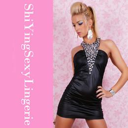 Wholesale Look Vestidos Sexy - Sexy Mini Party Dress Kleid Leder Wet Look Strass Black party dresses vestidos femininos halter dress