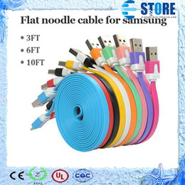 Wholesale Extra Long Data Cables - 1M 3FT 2M 6FT 3M 10FT Flat sync data charge cord extra long Noodle Micro USB 2.0 cable For samsung S5 S4 S3 LG HTC Sony blackberry Nokia,M