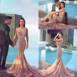 Wholesale Jewel Brush - 2018 Arabic Mermaid Prom Dresses Plum Lace Appliques Backless Brush Train Backless Formal Trumpet Evening Gowns Said Mhamad Dress