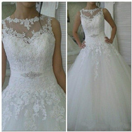 Wholesale Heart Shaped Red Gowns - 2016 Spring Lace Wedding Dresses Venice Sheer Heart Shape Back Bridal Gowns Tulle Chapel Train Plus Size Wedding Gowns with Beaded Belt