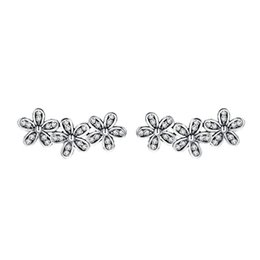 Wholesale Bouquet Earrings - Dazzling Daisy bouquet S925 Sterling Silver retro European Christmas custom earrings The best gift for your girlfriend and lover