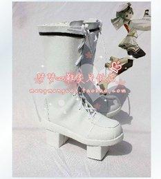 Wholesale Vocaloid Sakura Miku - Wholesale-Original White Flame Version Vocaloid Senbon Sakura Miku Cosplay Boots Shoes
