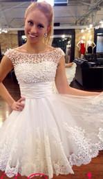 Wholesale Sexy Mini Dresses China - Lace White Pearls Cocktail Prom Party Dress 2015 A-Line Short Prom Dresses Above Knee Vestido De Festa China Bridal Dress Fast Shipping