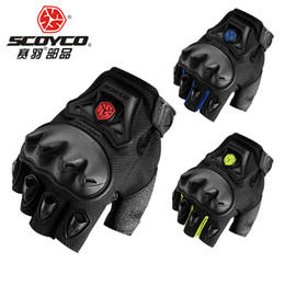 Wholesale Glove Silicon - Scoyco MC29D Glove Motorcycle half Finger High Protective Shell Palm Silicon Motocross Racing New Protection Free Shipping