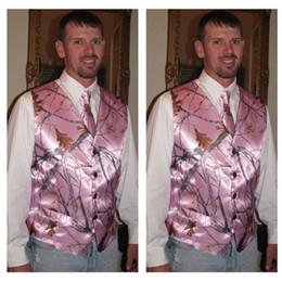 Wholesale Real Tree Pink - Top Sale Pink Camo Groom Vest Custom Made Snowfall True Timber Camo Formal Mens Vest Pink Real Tree Camouflage Wedding Party Wear