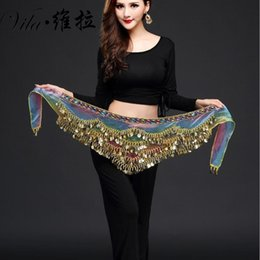 Wholesale belly dance sequins hip scarf - New style belly dance belt newest multi-color Glass silk belly dancing belt scarf crystal bellydance waist chain hip scarf