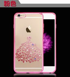 Wholesale Plated Wholesale Skirt - new arrival gold silver for iphone6s phone shell plating TPU Apple 6S printing skirt diamond diy creative mobile phone protective sleeve